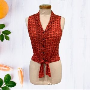 Owl Print Button Down Tie Front Sleeveless Top S